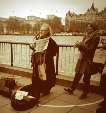 Ann Rossiter, writer and prochoice activist, at a recent My Belly is Mine protest